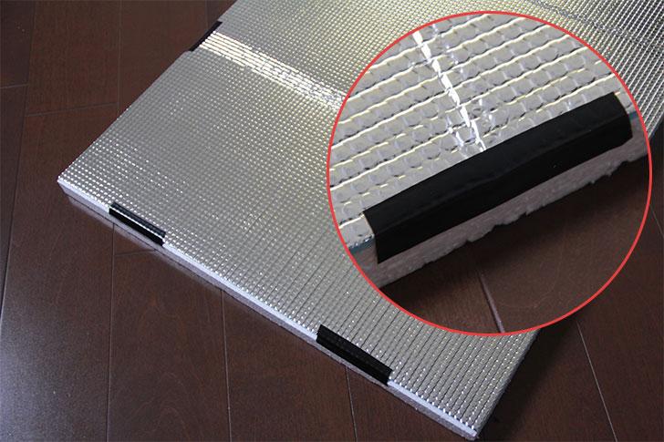 発泡スチロール板と耐熱シートをテープで固定
