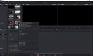 DaVinci Resolve:タイムラインに読み込む動画を選択して右クリック。