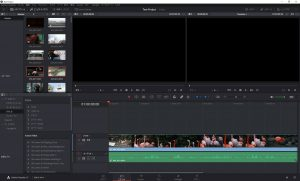 DaVinci Resolve:タイムラインに配置された動画クリップ。