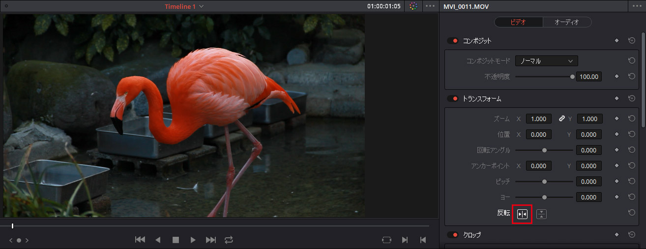 DaVinci Resolve:動画を左右反転