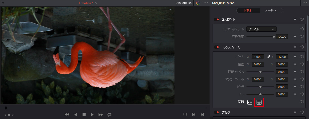 DaVinci Resolve:動画を上下反転