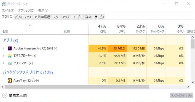 4K動画編集時のメモリ使用量