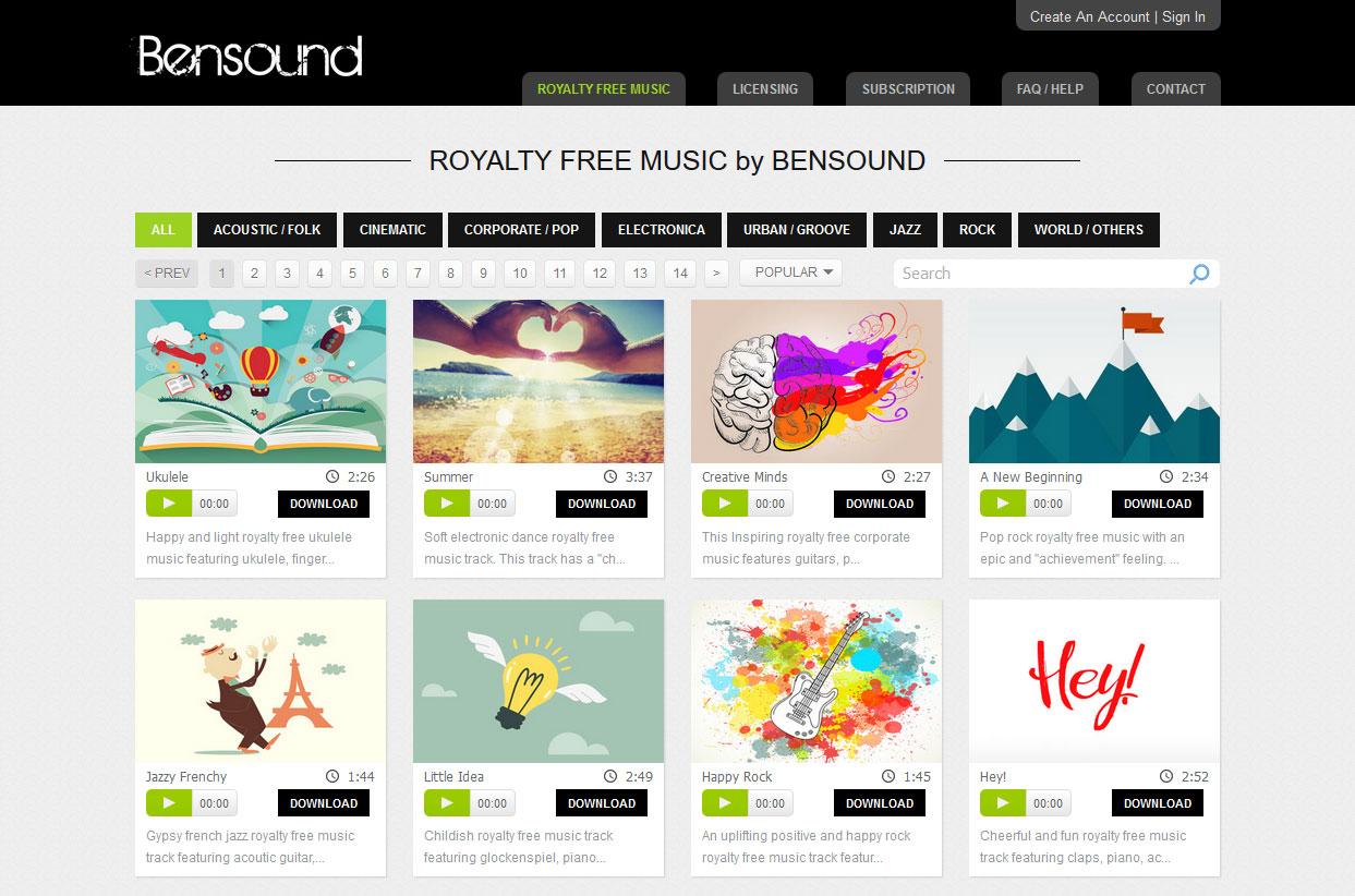 Bensoundサイトイメージ