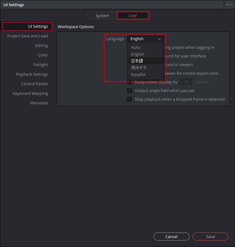 英語版 DaVinci Resolve 環境設定内のUI設定を編集する
