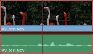映像データと音声データがリンクが解除されたクリップ