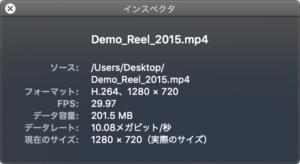 Mac 動画ファイルのインスペクタ