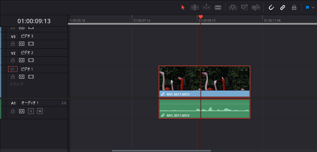 タイムラインの動画クリップを選択