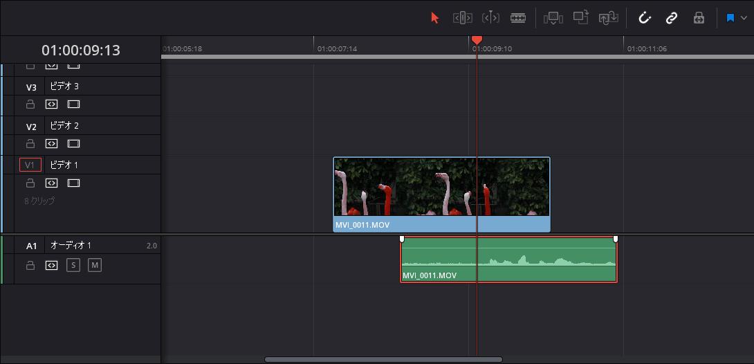 リンクが解除され映像データと音声データが別々のクリップになった
